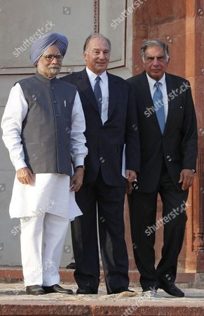 Indian Prime Minsiter Manmohan Singh(l) and His Highness Prince Karim Aga Khan (iv) and Former Chairman of the Tata Group Ratan Tata (r) Pose For a Picture After Inaugurating Humanyun's Tomb After Its Conservation in New Delhi India 18 September 2013 the Restoration of the Architecture was Mainly Funded by the Aga Khan Trust the Mughal Architecture is a World Heritage Site and the First Example of This Type of Mughal Architecture in India Bega Begum Widow of Mughal Emperor Humayun Commissioned the Tomb and It was Built From 1565-1572 India New Delhi