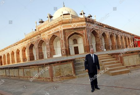 His Highness Prince Karim Aga Khan (iv) Poses in Front of Humanyun's Tomb After Its Conservation Inaguration in New Delhi India 18 September 2013 the Restoration of the Architecture was Mainly Funded by the Aga Khan Trust the Mughal Architecture is a World Heritage Site and the First Example of This Type of Mughal Architecture in India Bega Begum Widow of Mughal Emperor Humayun Commissioned the Tomb and It was Built From 1565-1572 India New Delhi