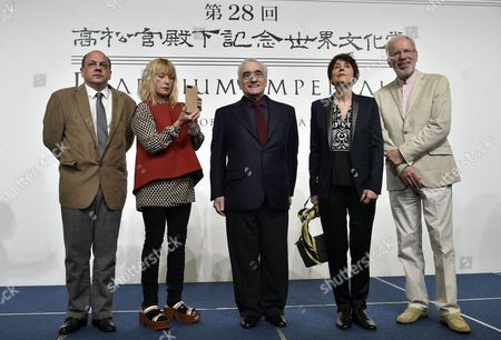 (l-r) Brazilian Architect Pedro Mendes Da Rocha Us Photographer Cindy Sherman Us Film Director Martin Scorsese French Sculptor Annette Messager and Latvian Musician Gidon Kremer Pose For a Photo During a Photo Call For the 28th Praemium Imperiale in Tokyo Japan 17 October 2016 the Praemium Imperiale is a Global Arts Prize Awarded Annually by the Japan Art Association Five Laureates Are Nominated in the Fields of Painting Sculpture Architecture Music and Theatre/film For Its 28th Edition the Praemium Imperiale Awards Have Been Given to Us Photographer Cindy Sherman French Sculptor Annette Messager Brazilian Architect Paulo Mendes Da Rocha Latvian Musician Gidon Kremer and Us Film Director Martin Scorsese Japan Tokyo