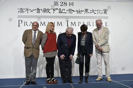(l-r) Brazilian Architect Pedro Mendes Da Rocha Us Photographer Cindy Sherman Us Film Director Martin Scorsese French Sculptor Annette Messager and Latvian Musician Gidon Kremer Prepare For a Group Photo During a Photo Call For the 28th Praemium Imperiale in Tokyo Japan 17 October 2016 the Praemium Imperiale is a Global Arts Prize Awarded Annually by the Japan Art Association Five Laureates Are Nominated in the Fields of Painting Sculpture Architecture Music and Theatre/film For Its 28th Edition the Praemium Imperiale Awards Have Been Given to Us Photographer Cindy Sherman French Sculptor Annette Messager Brazilian Architect Paulo Mendes Da Rocha Latvian Musician Gidon Kremer and Us Film Director Martin Scorsese Japan Tokyo