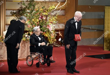 Latvian Musician Gidon Kremer (r) Bows After Receiving a Medal From Japanese Prince Hitachi (c) During the Awards Ceremony of the 28th Praemium Imperiale in Tokyo Japan 18 October 2016 the Praemium Imperiale is a Global Arts Prize Awarded Annually by the Japan Art Association Five Laureates Are Nominated in the Fields of Painting Sculpture Architecture Music and Theatre/film Japan Tokyo