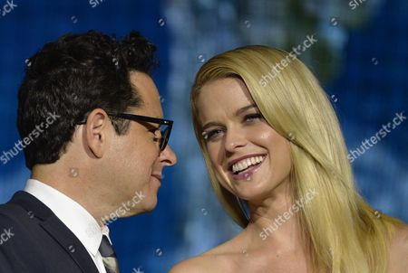 British Actress/cast Member Alice Eve (r) and Film Director J J Abrams (l) Pose During a Promotional Event For the Movie 'Star Trek Into Darkness' at Miraikan (national Museum of Emerging Science and Innovation) in Tokyo Japan 14 August 2013 the Action Sci-fi Movie Will Hit Japanese Theaters on 23 August Japan Tokyo