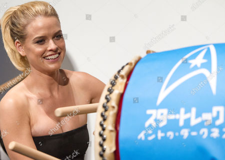 British Actress Alice Eve Plays a Japanese Taiko Drum During a Photo Call Session at the Premiere of 'Star Trek Into Darkness' in Tokyo Japan 13 August 2013 the Action Adventure Sci-fi Film Directed by J J Abrams Will Hit Japanese Theaters on 23 August Japan Tokyo