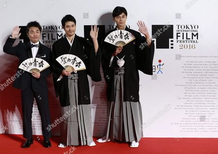Japanese Actor and Cast Member Kenichi Matsuyama (c) Masahiro Higashide (r) and Yoshitaka Mori the Director of His Film 'Satoshi: a Move For Tomorrow' Pose For a Photograph During the Opening Red Carpet Event of the 29th Tokyo International Film Festival (tiff) in Tokyo Japan 25 October 2016 the Tiff Will Show a Variety of Film Screenings Until 03 November Japan Tokyo