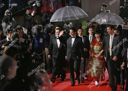Japanese Prime Minister Shinzo Abe (c) and Japanese Actress Haru Kuroki (2-r) Arrive For the Opening of the 29th Tokyo International Film Festival (tiff) in Tokyo Japan 25 October 2016 the Tiff Will Show a Variety of Film Screenings Until 03 November Japan Tokyo
