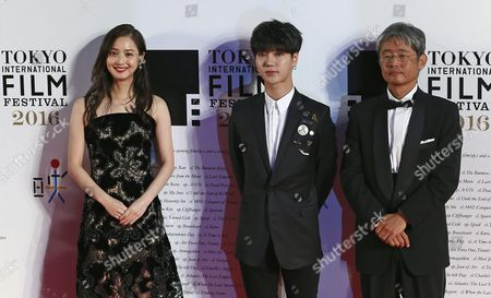 Japanese Actress and Cast Member Nozomi Sasaki (l) Korean Actor Yesung (c) and Japanese Director Yuzo Asahara of the Film 'My Korean Teacher' Arrive For the Opening of the 29th Tokyo International Film Festival (tiff) in Tokyo Japan 25 October 2016 the Tiff Will Show a Variety of Film Screenings Until 03 November Japan Tokyo