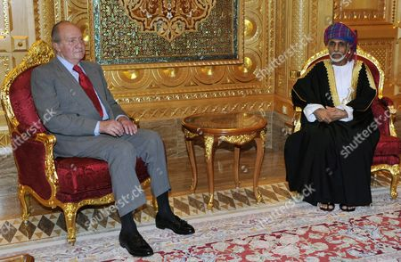 His Majesty Sultan Qaboos Bin Said Sultan of Oman (r) Welcomes Spanish King Juan Carlos at the Palace Al Alaam in Muscat Oman 29 April 2014 As Part of His Official Visit to Middle East Oman Muscat