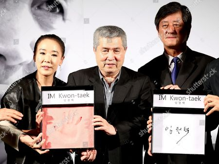 (l-r) South Korean Actress Kang Su-yeon Director Im Kwon-taek and Festival Director Lee Yong-kwan Pose After Im Kwon-taek's Handprinting Ceremony at the 18th Busan International Film Festival (biff) at the Cinema Center in Busan South Korea 08 October 2013 the Biggest Film Festival in Asia Showcases 301 Films From 70 Countries in Busan From 03 to 12 October Korea, Republic of Busan