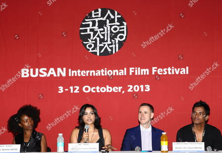 Indian Producer Nanette Nelms Indian Actress Shahana Goswami Us Producer David Urrutia and Indian Actor Devesh Ranjan Speak During a Press Conference For Their Opening Film 'Vara: a Blessing' of the 18th Busan International Film Festival (biff) at Culture of Cinema Hall in Busan South Korea 03 October 2013 the Biggest Film Festival in Asia Showcases 301 Films From 70 Countries From 03 to 12 October in Busan Korea, Republic of Busan