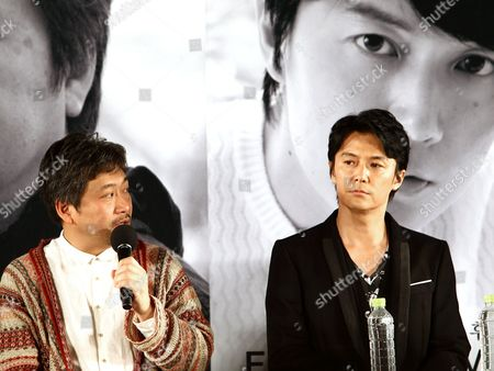 Japanese Director Hirokazu Koreeda (l) and Japanese Singer and Actor Fukuyama Masaharu (r) Attend an Open Talk As Part of the 18th Busan International Film Festival (biff) at the Haeundae Biff Village in Busan South Korea 04 October 2013 the Biggest Film Festival in Asia Showcases 301 Films From 70 Countries From 03 to 12 October Korea, Republic of Busan