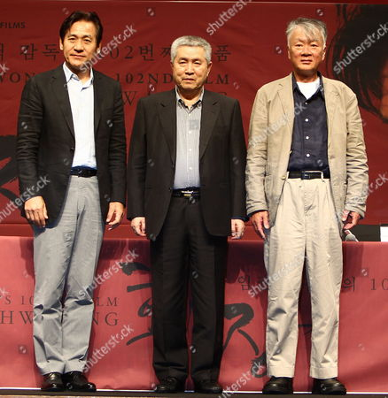 South Korean Actor Ahn Seong-gi (l) South Korean Film Irector Im Kwon-taek (c) and South Korean Original Author Kim Hoon (r) Pose For a Picture During the Im Kwon-taek's 102nd Film 'Hwa Jang' Press Conference at the 18th Busan International Film Festival (biff) in the Shinsegae Centum City Culture Hall in Busan South Korea 04 October 2013 the Biggest Film Festival in Asia Showcases 301 Films From 70 Countries From 03 to 12 October in Busan Korea, Republic of Busan