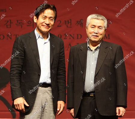 South Korean Actor Ahn Seong-gi and South Korean Film Director Im Kwon-taek Pose For a Picture During the Im Kwon-taek's 102nd Film 'Hwa Jang' Press Conference at the 18th Busan International Film Festival (biff) in the Shinsegae Centum City Culture Hall in Busan South Korea 04 October 2013 the Biggest Film Festival in Asia Showcases 301 Films From 70 Countries From 03 to 12 October in Busan Korea, Republic of Busan