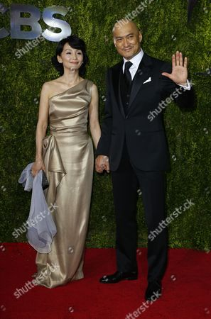 Japanese Actor Ken Watanabe (r) and His Wife Kaho Minami Arrive on the Red Carpet at the 2015 Tony Awards at Radio City Music Hall in New York New York Usa 07 June 2015 the Annual Awards Honor Excellence in Broadway Theatre United States New York