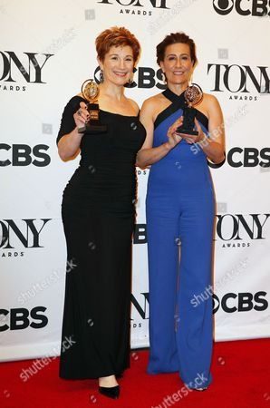American Actress Lisa Kron (l) and Us Composer Jeanine Tesori Winners of the Award For Best Original Score (music And/or Lyrics) Wrtitten For the Theatre For 'Fun Home' in the Press Room at the 2015 Tony Awards at Radio City Music Hall in New York New York Usa 07 June 2015 the Annual Awards Honor Excellence in Broadway Theatre United States New York