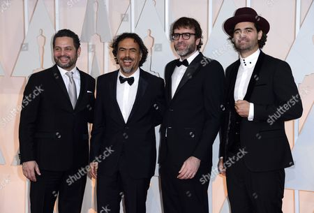 Armando Bo (r) Nicolas Giacobone (2-r) Alejandro Gonzalez Inarritu (2-l) and Alexander Dinelaris (l) Arrive For the 87th Annual Academy Awards Ceremony at the Dolby Theatre in Hollywood California Usa 22 February 2015 the Oscars Are Presented For Outstanding Individual Or Collective Efforts in 24 Categories in Filmmaking United States Hollywood
