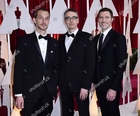 (l-r) Anthony Stacchi Graham Annable and Travis Knight Arrive For the 87th Annual Academy Awards Ceremony at the Dolby Theatre in Hollywood California Usa 22 February 2015 the Oscars Are Presented For Outstanding Individual Or Collective Efforts in 24 Categories in Filmmaking United States Hollywood