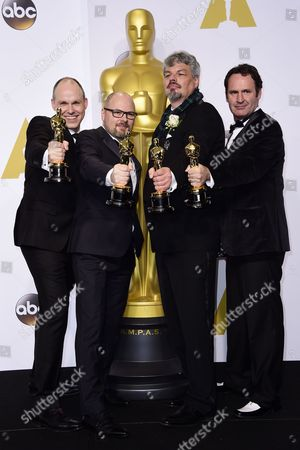 (l-r) Paul Franklin Andrew Lockley Ian Hunter and Scott Fisher Pose with Their Academy Award For Visual Effects For 'Interstellar' in the Press Room During the 87th Annual Academy Awards Ceremony at the Dolby Theatre in Hollywood California Usa 22 February 2015 the Oscars Are Presented For Outstanding Individual Or Collective Efforts in 24 Categories in Filmmaking United States Hollywood