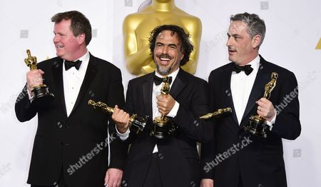 (l-r) James W Skotchdopole Alejandro G Inarritu and John Lesher Pose with Their Academy Award For Best Picture For 'Birdman Or (the Unexpected Virtue of Ignorance' in the Press Room During the 87th Annual Academy Awards Ceremony at the Dolby Theatre in Hollywood California Usa 22 February 2015 the Oscars Are Presented For Outstanding Individual Or Collective Efforts in 24 Categories in Filmmaking United States Hollywood