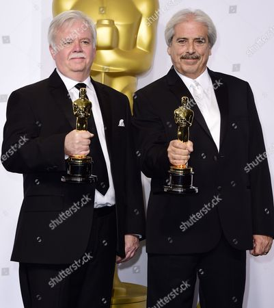 Bub Asman (l) and Alan Robert Murray Pose with Their Academy Award For Sound Editing For 'American Sniper' in the Press Room During the 87th Annual Academy Awards Ceremony at the Dolby Theatre in Hollywood California Usa 22 February 2015 the Oscars Are Presented For Outstanding Individual Or Collective Efforts in 24 Categories in Filmmaking United States Hollywood