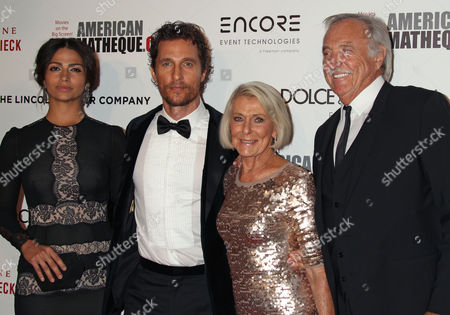 (l-r) Brazilian Model Camila Alves Her Husband Us Actor Matthew McConaughey His Mother Kay Mcconaughey and C J Carlig Arrive For the 28th American Cinematheque Award Ceremony at the Beverly Hilton Hotel in Beverly Hills California Usa 21 October 2014 the American Cinematheque Award is Presented Annually to an Artist Making a Significant Contribution to the Art of the Moving Picture and This Year is Awarded to Us Actor Matthew McConaughey United States Beverly Hills