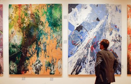 Michael Rooks Curator of Modern and Contemporary Art Looks at Panels of 'Bomboro Quina' by Brooklyn New York Artist Jose Parla at the Exhibition 'Imagining New Worlds: Wifredo Lam Jose Parla Fahamu Pecou' at the High Museum of Art in Atlanta Georgia Usa 23 February 2015 the Exhibit is a Retrospective of the Twentieth-century Cuban Artist Wifredo Lam and Responses to Lam's Work by Contemporary Artists Jose Parla and Fahamu Pecou the Exhibition Runs Through 24 May 2015 United States Atlanta