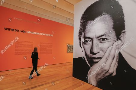 Stock Image of A Man Ray Portrait of Cuban Artist Wilfredo Lam Greets Visitors to the Exhibition 'Imagining New Worlds: Wifredo Lam Jose Parla Fahamu Pecou' at the High Museum of Art in Atlanta Georgia Usa 23 February 2015 the Exhibit is a Retrospective of the Twentieth-century Cuban Artist Wifredo Lam and Responses to Lam's Work by Contemporary Artists Jose Parla and Fahamu Pecou the Exhibition Runs Through 24 May 2015 United States Atlanta