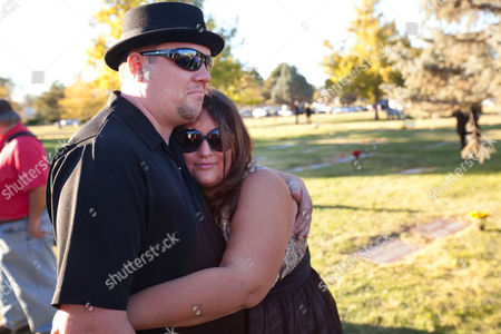 Stock Picture of Anthony and Desiree Hall Hug During the Walter White Memorial Service at Sunset Memorial Park in Albuquerque New Mexico Usa 19 October 2013 Walter White is the Fictional Main Character of the 'Breaking Bad' Television Show Which Ran For Eight Seasons and Ended 29 September 2013 the Funeral is a Fundraiser For the Vernon?s Steakhouse Walter White Endowment Fund at the Albuquerque Community Foundation Benefiting Albuquerque Health Care For the Homeless (epa/eric Draper) United States Albuquerque