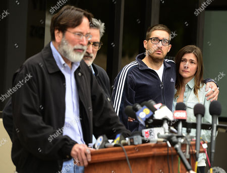 Relatives (r) of Mass Shooting Victim Christopher Martinez Watch As His Father Richard Martinez (l) Express His Anger and Sorrow As He Speaks to the Media with His Brother Alain (2l) by His Side Outside the Santa Barbara County Sheriffs Headquarters in Goleta California Usa 24 May 2014 Eliott Roger the Suspected Gunman Killed Six People and Wounded Seven As He Drove Through the Ucsb College Town of Isla Vista Shooting As Well As Running Over Victims in His Car Before He Died Either in the Shoot-out with Police Or From a Self-inflicted Wound United States Goleta