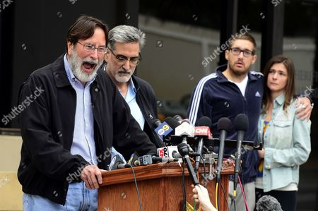 Richard Martinez (l) the Father of Mass Shooting Victim Christopher Martinez Expresses His Anger and Sorrow As He Speaks to the Media with His Brother Alain (2l) by His Side Outside the Santa Barbara County Sheriffs Headquarters in Goleta California Usa 24 May 2014 Eliott Roger the Suspected Gunman Killed Six People and Wounded Seven As He Drove Through the Ucsb College Town of Isla Vista Shooting As Well As Running Over Victims in His Car Before He Died Either in the Shoot-out with Police Or From a Self-inflicted Wound at Right Are Family Members United States Goleta