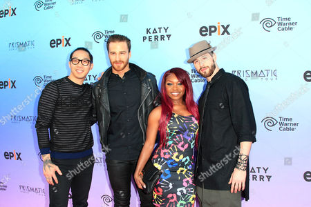 Stock Image of Us Backup Dancers (l-r) Bryan Gaw Lockhart Brownlie Singer Cherri Black and Dancer Cassidy Noblett Arrive at the World Premiere of 'Katy Perry: the Prismatic World Tour' at the Theatre at Ace Hotel in Los Angeles California Usa 26 March 2015 the Show Airs in the Us on 28 March United States Los Angeles