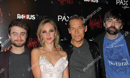 From (l-r) British Actors/cast Members Daniel Radcliffe and Juno Temple Us Actor/cast Member James Remar and Us Author Joe Hill Arrive For Radius-twc's Special Screening of the Movie Premiere 'Horns' at Arclight Hollywood in Hollywood California Usa 30 October 2014 United States Hollywood