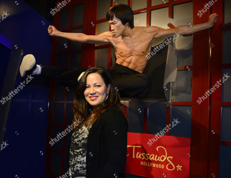 Stock Picture of Shannon Lee the Daughter of Martial Arts Legend and Actor Bruce Lee Poses Next to His Wax Figure During an Unveiling at the Madame Tussauds Hollywood Museum in Hollywood California Usa 24 September 2014 Bruce Lee's Wax Likeness Will Be on Permanent Display in the Action Heroes Room United States Hollywood