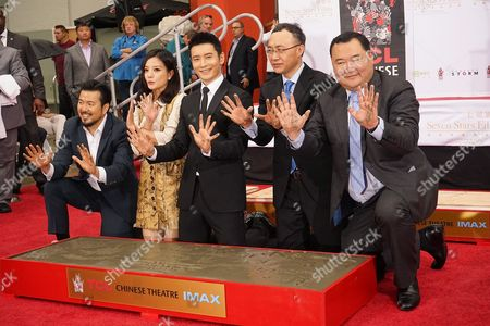 (l-r) Us Director Justin Lin Chinese Actress Zhao Wei Chinese Actor Huang Xiaoming Wang Changtian Ceo Enlight Pictures and Bruno Wu Chairman Sun Seven Stars at the 88th Birthday of Tcl Chinese Theater Imax and Hand and Footprint Ceremony For Justin Lin Zhao Wei and Huang Xiaoming at Tcl Chinese Theater in Hollywood California Usa 03 June 2015 United States Hollywood