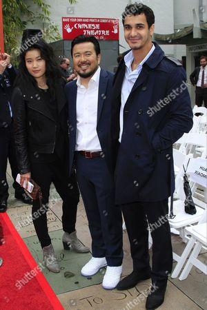 (l-r) Canadian Actress Jadyn Wong Us Director Justin Lane and British Actor Elyes Gabel at the 88th Birthday of Tcl Chinese Theater Imax and Hand and Footprint Ceremony For Justin Lin Zhao Wei and Huang Xiaoming at Tcl Chinese Theater in Hollywood California Usa 03 June 2015 United States Hollywood