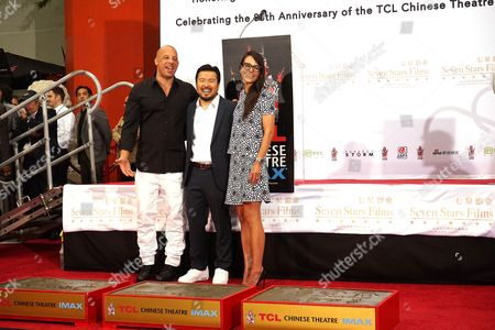 (l-r) Us Actor Vin Diesel Us Director Justin Lin and Us Actress Jordana Brewster at the 88th Birthday of Tcl Chinese Theater Imax and Hand and Footprint Ceremony For Justin Lin Zhao Wei and Huang Xiaoming at Tcl Chinese Theater in Hollywood California Usa 03 June 2015 United States Hollywood