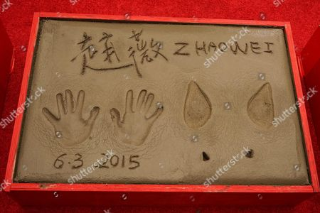 Chinese Actress Zhao Wei's Prints at the 88th Birthday of Tcl Chinese Theater Imax and Hand and Footprint Ceremony For Justin Lin Zhao Wei and Huang Xiaoming at Tcl Chinese Theater in Hollywood California Usa 03 June 2015 United States Hollywood