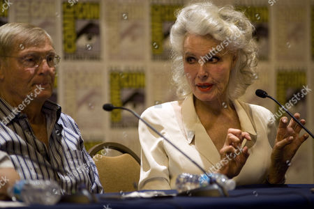 Julie Newmar the Original Actress who Portrayed Catwoman in the 1960s Television Series Batman Speaks at a Press Conference During Comic-con 2014 in San Diego California Usa on 24 July 2014 United States San Diego