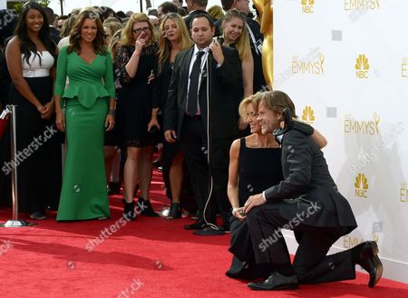 Vanessa Williams (2-l) Looks on As Felicity Huffman (c) and William H Macy (r) Pose on the Red Carpet at the 66th Annual Primetime Emmy Awards Held at the Nokia Theatre in Los Angeles California Usa 25 August 2014 the Primetime Emmy Awards Celebrate Excellence in National Primetime Television Programming United States Los Angeles