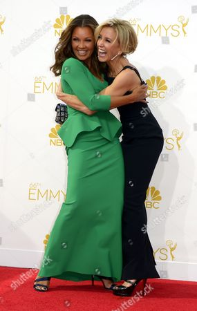 Vanessa Williams (l) and Felicity Huffman (r) Arrive For the 66th Annual Primetime Emmy Awards Held at the Nokia Theatre in Los Angeles California Usa 25 August 2014 the Primetime Emmy Awards Celebrate Excellence in National Primetime Television Programming United States Los Angeles