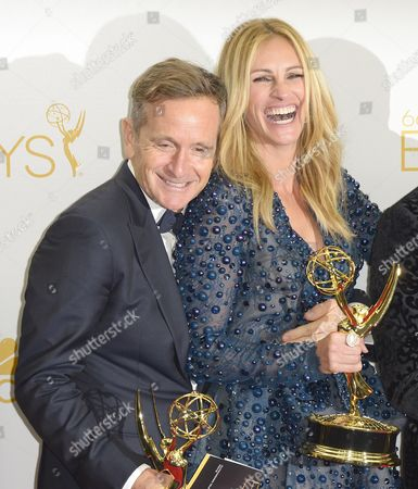 (l-r) Dante Di Loreto and Julia Roberts Winners of the Emmy For Outstanding Television Movie For 'The Normal Heart ' Poses in the Press Room During the 66th Annual Primetime Emmy Awards Held at the Nokia Theatre in Los Angeles California Usa 25 August 2014 the Primetime Emmy Awards Celebrate Excellence in National Primetime Television Programming United States Los Angeles