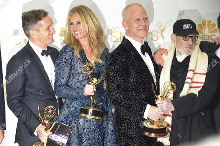 Stock Photo of (l-r) Dante Di Loreto Julia Roberts Ryan Murphy and Larry Kramer Winners of the Emmy For Outstanding Television Movie For 'The Normal Heart ' Poses in the Press Room During the 66th Annual Primetime Emmy Awards Held at the Nokia Theatre in Los Angeles California Usa 25 August 2014 the Primetime Emmy Awards Celebrate Excellence in National Primetime Television Programming United States Los Angeles