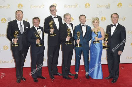 Caption Addition Adding Ids (l-r) Michael Frislev Chad Oakes John Cameron Warren Littlefield Noah Hawley Kim Todd Geyer Kosinski Hold the Emmy For Outstanding Miniseries For 'Fargo ' in the Press Room During the 66th Annual Primetime Emmy Awards Held at the Nokia Theatre in Los Angeles California Usa 25 August 2014 the Primetime Emmy Awards Celebrate Excellence in National Primetime Television Programming United States Los Angeles