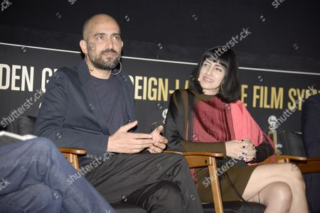 Israeli Director Shlomi Elkabetz (l) and His Sister Co-director and Actress Ronit Elkabetz (r) From the Film 'Gett: the Trial of Viviane Amsalem' Attend the Golden Globe Foreign-language Nominee Symposium at the Egyptian Theatre in Hollywood California Usa 10 January 2015 United States Hollywood