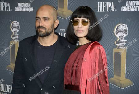 Israeli Director Shlomi Elkabetz (l) and Co-director and Actress Ronit Elkabetz (r) From the Film 'Gett: the Trial of Viviane Amsalem' Attend the Golden Globe Foreign-language Nominee Symposium at the Egyptian Theatre in Hollywood California Usa 10 January 2015 United States Hollywood