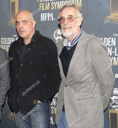 Georgian Director Zaza Urushadze (l) and Estonian Actor Lembit Ulfsak (r) From the Film 'Tangerines' Attend the Golden Globe Foreign-language Nominee Symposium at the Egyptian Theatre in Hollywood California Usa 10 January 2015 United States Hollywood