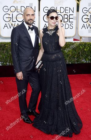 Stock Photo of Shlomi Elkabetz (l) and Ronit Elkabetz (r) Arrive For the 72nd Annual Golden Globe Awards at the Beverly Hilton Hotel in Beverly Hills California Usa 11 January 2015 United States Los Angeles