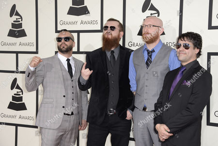 (l-r) Us Metal Band Killswitch Engage - Jesse Leachattends Joel Stroetzel Justin Foley and Mike D'antonio Arrive For the 56th Annual Grammy Awards Held at the Staples Center in Los Angeles California Usa 26 January 2014 United States Los Angeles