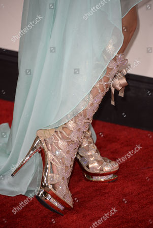 A Close-up Detail of the Shoe of Us Singer Nadeea Arriving For the 56th Annual Grammy Awards Held at the Staples Center in Los Angeles California Usa 26 January 2014 United States Los Angeles