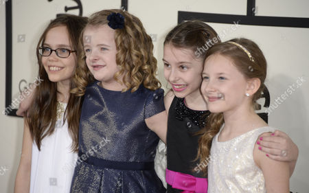 Performers From the Musical Matilda (l-r) Oona Laurence Milly Shapiro Bailey Ryon and Sophia Gennusa Arrive For the 56th Annual Grammy Awards Held at the Staples Center in Los Angeles California Usa 26 January 2014 United States Los Angeles