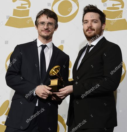 British Art Directors James Musgrave (l) and Simon Earith Hold the Award For Best Boxed Or Special Limited Edition Package 'Wings Over America (deluxe Edition)' at the 56th Annual Grammy Awards at the Staples Center in Los Angeles California Usa 26 January 2014 United States Los Angeles